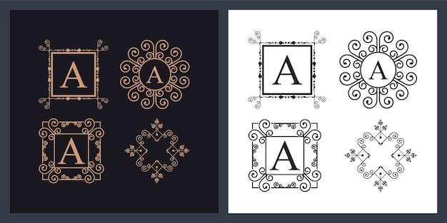 Paquete de cuatro monogramas ornamentales