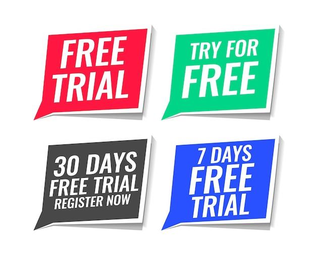 Paquete de cuatro pegatinas de prueba gratis