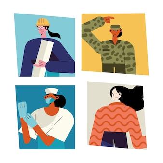 Paquete de cuatro señoras diferentes profesiones personajes ilustración