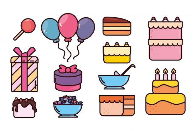 Paquete de cumpleaños con conjunto de iconos