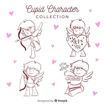 Paquete cupidos dibujos animados san valentín