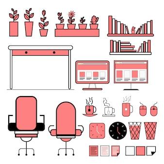 Paquete de gráficos de información vectorial plana de equipos de oficina