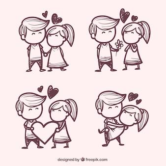 Paquete de pareja de enamorados dibujados a mano