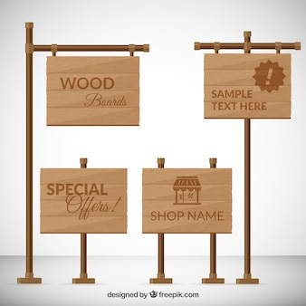 Paquete de señales de madera