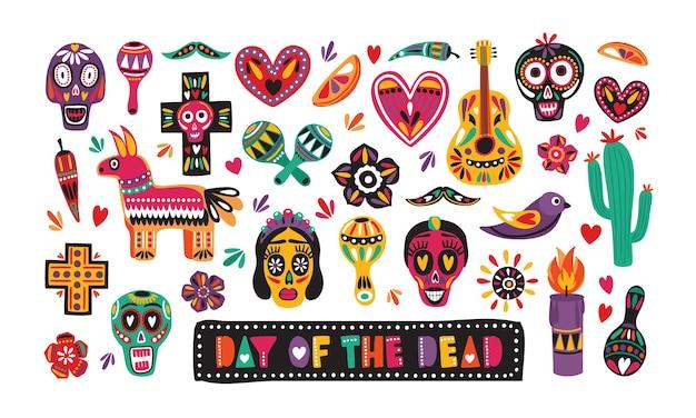 Paquete de decoraciones tradicionales del día de muertos aislado en blanco