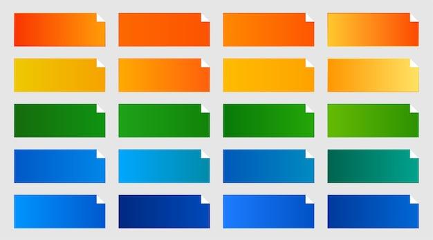 Paquete de degradados de color común de tono naranja, verde y azul