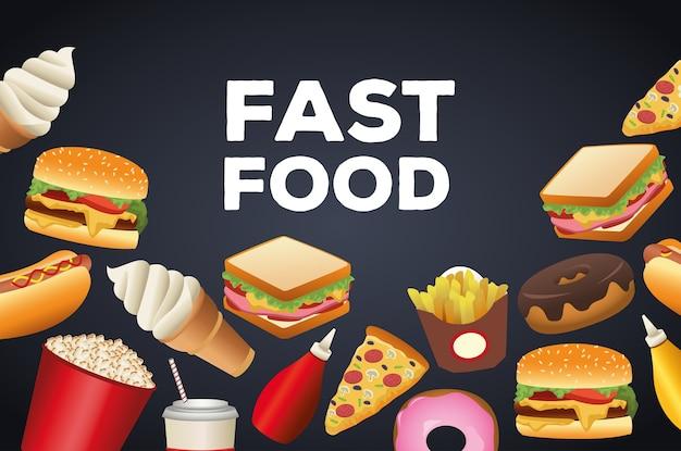 Paquete de delicioso menú de comida rápida y letras en fondo negro