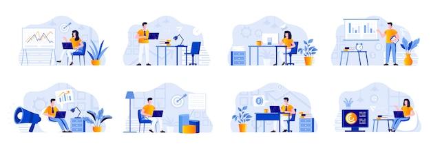 Paquete de departamento de marketing con personajes de personas. comercializadores que trabajan con computadoras portátiles y hacen presentaciones con diagramas en situaciones de oficina. investigación de mercado y análisis ilustración plana.