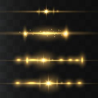 Paquete de destellos de lente horizontal amarillo. rayos láser, rayos de luz horizontales.