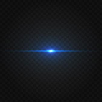 Paquete de destellos de lente horizontal azul. rayos láser, rayos de luz horizontales. hermosas bengalas de luz.