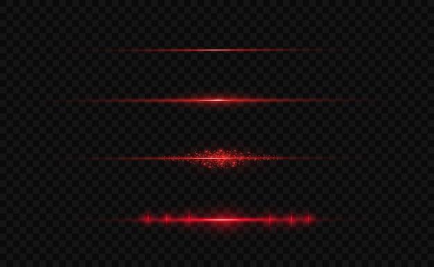 Paquete de destellos de lente horizontal rojo. rayos láser, rayos de luz horizontales.