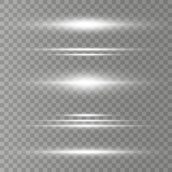 Paquete de destellos de lentes horizontales, rayos láser. rayos de luz. línea luminosa sobre fondo transparente.