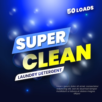 Paquete para detergente para ropa. etiqueta de plantilla para detergente en polvo. ilustración.