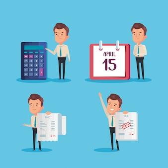 Paquete de día de impuestos pagado con empresarios