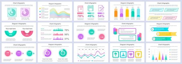 Paquete de diapositivas de presentación de infografías de negocios y finanzas