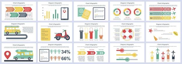 Paquete de diapositivas de presentación de infografías de vacaciones de viaje