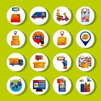 Paquete de dieciséis iconos de servicio de entrega en línea, diseño de ilustraciones vectoriales