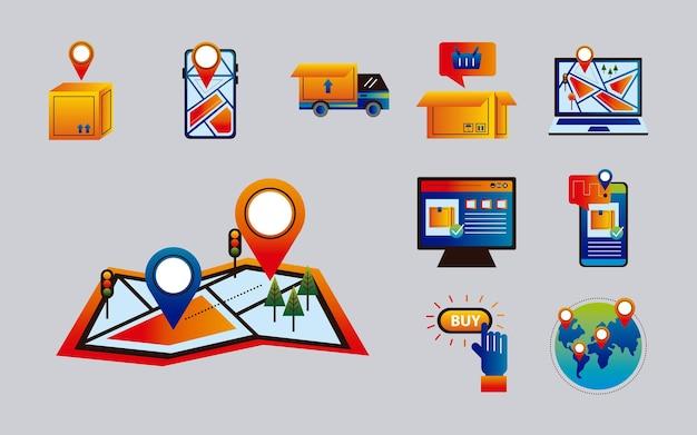 Paquete de diez iconos de conjunto de servicios de entrega en línea, diseño de ilustraciones vectoriales
