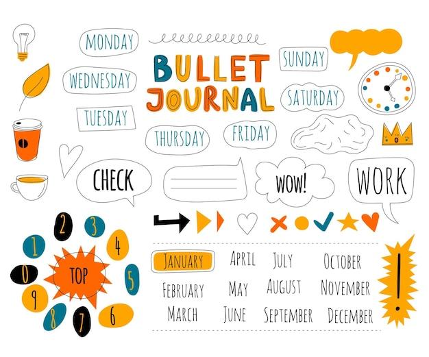 Paquete de diferentes elementos de bullet journal
