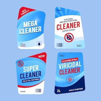 Paquete de diferentes etiquetas limpiadoras viricidas y bactericidas