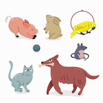 Paquete de diferentes mascotas de ilustración de diseño plano
