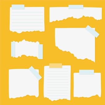 Paquete de diferentes papeles rasgados con cinta