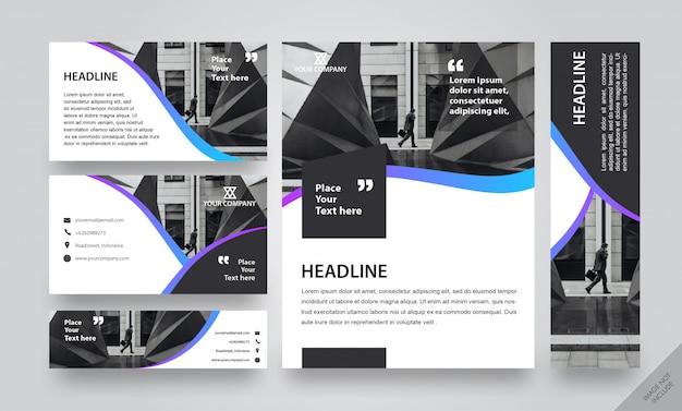 Paquete de diseño corporativo gradient strip