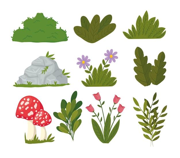 Paquete de diseño de iconos de conjunto de paisaje