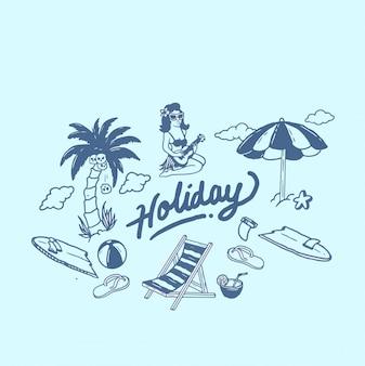 Paquete de diseño de ilustración de vacaciones de verano