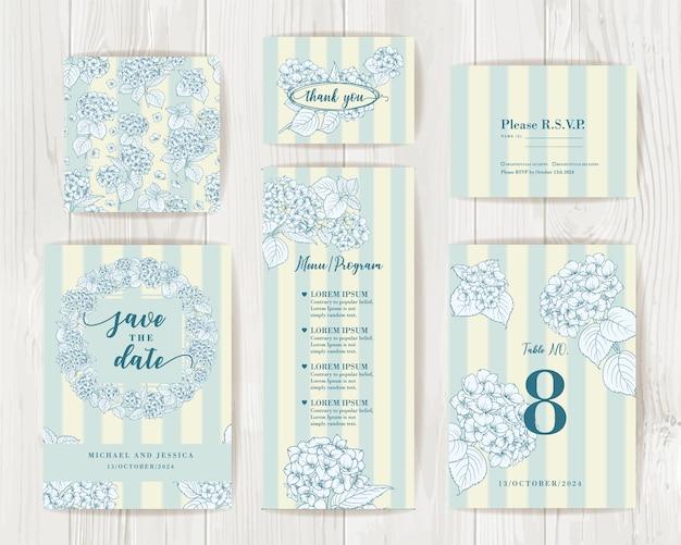 Paquete de diseño de invitación con hortensias. colección de tarjetas de felicitación.