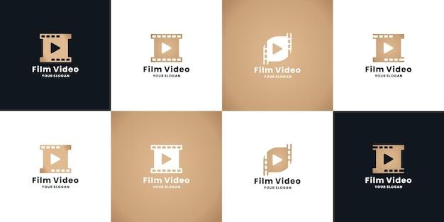 Paquete de diseño de logotipo de dirección de película dorada