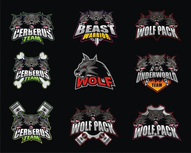 Paquete de diseño de logotipo e-sport con tema de lobo