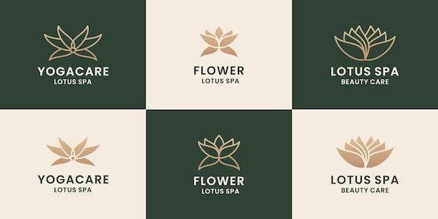 Paquete de diseño de logotipo de flor de loto de belleza femenina