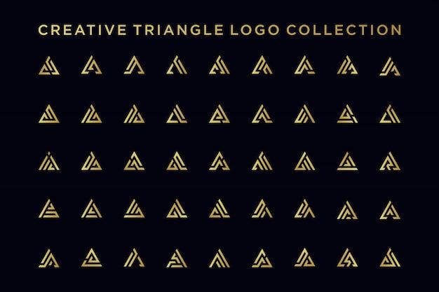 Paquete de diseño de logotipo letra a con estilo dorado,