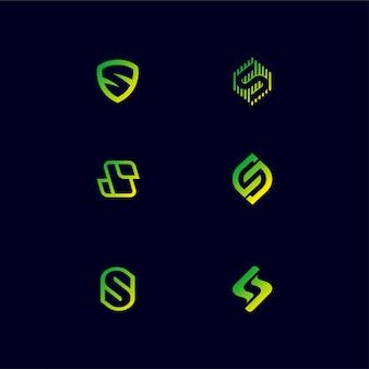 Paquete de diseño de logotipo de monograma letra s