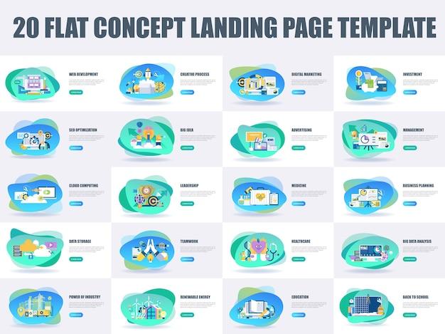 Paquete de diseño plano concepto plantilla de página de aterrizaje