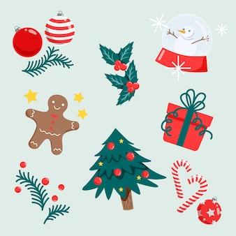Paquete de diseño plano de elementos navideños