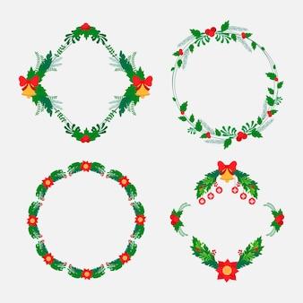 Paquete de diseño plano marcos y bordes navideños