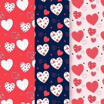 Paquete de diseño plano de patrón de corazón