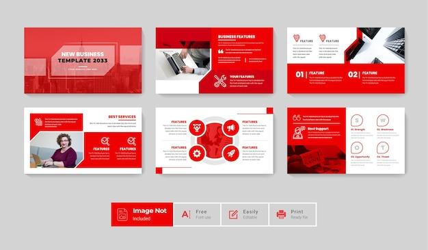 El paquete de diseño de plantillas de diapositivas de presentación de negocios creativos modernos establece el tema de infografía de color rojo