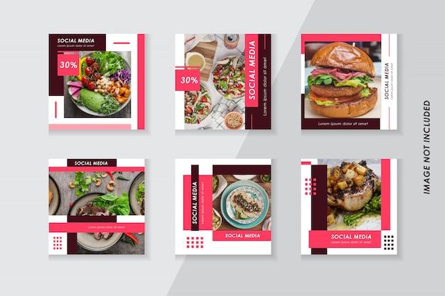 Paquete de diseño de plantillas de redes sociales de alimentos