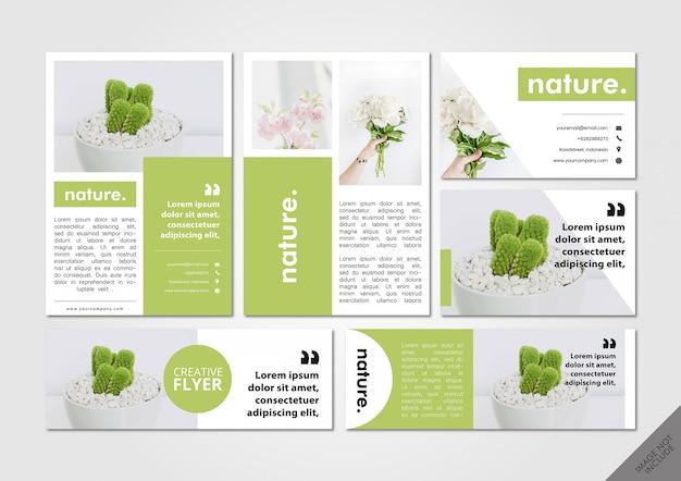 Paquete de diseño verde de la naturaleza