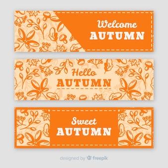 Paquete de diseño vintage banner otoño