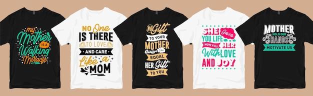 Paquete de diseños de camisetas de mamá, colección de camisetas gráficas de tipografía de citas del día de la madre