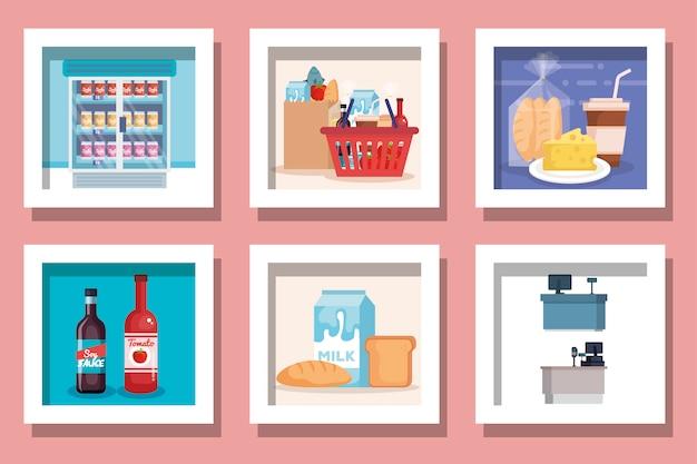 Paquete de diseños de productos de supermercado