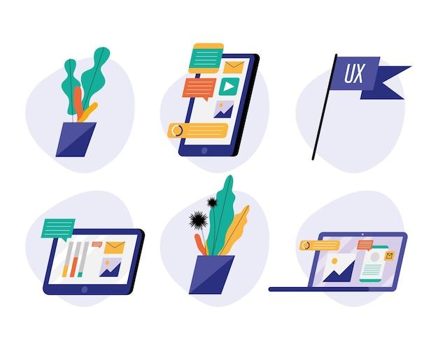 Paquete de dispositivos con ilustración de tecnología de redes sociales