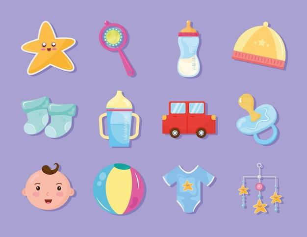 Paquete de doce iconos de celebración de baby shower, diseño de ilustraciones