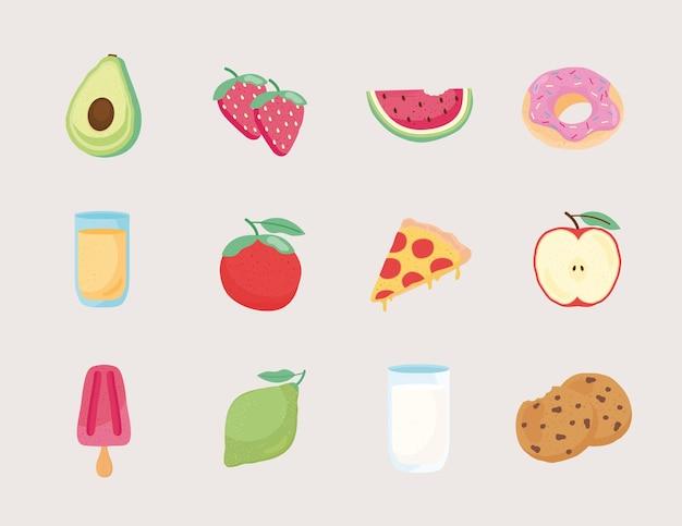 Paquete de doce iconos de comida fresca y deliciosa ilustración