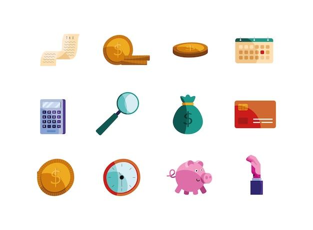 Paquete de doce iconos de día de impuestos, diseño de ilustraciones