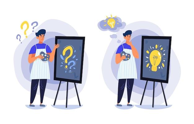 Paquete de dos imágenes de un joven diseñador, autónomo o pintor que intenta captar su idea. en el primero, está molesto y no tiene nada, en el segundo está lleno de éxitos, inspirado y motivado.